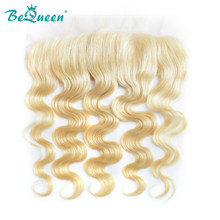 BeQueen HAIR Brazilian 613 Blonde Lace Frontal Straight 4x4 Virgin Human Hair Frontal transparent lace Bleached Knots Baby Hair(China)