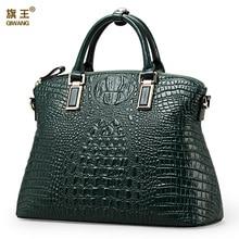 Qiwang أصيلة المرأة التمساح حقيبة 100% جلد طبيعي المرأة حقيبة يد الساخن بيع حمل المرأة حقيبة كبيرة العلامة التجارية حقائب فاخرة