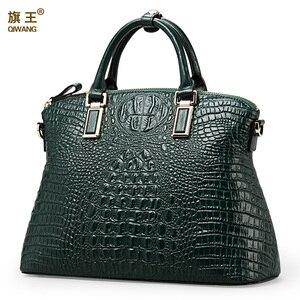 Image 1 - Qiwang 정통 여성 악어 가방 100% 정품 가죽 여성 핸드백 핫 판매 토트 여성 가방 대형 브랜드 가방 럭셔리