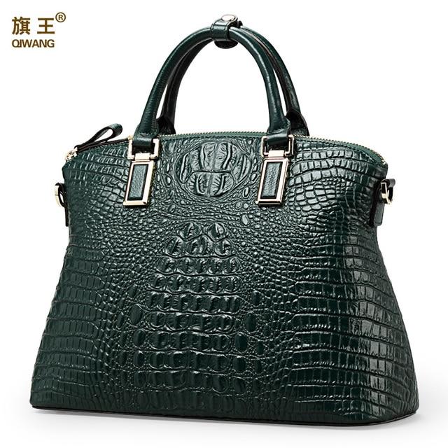 Qiwang Аутентичные Женщины Крокодил сумка 100% натуральная кожа женские сумки Лидер продаж тотализатор мешок женщин большой сумки бренда роскошных