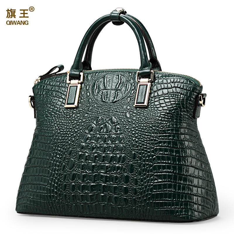 Qiwang hot selling fashion ladies geniune leather green crocodile tote women bag