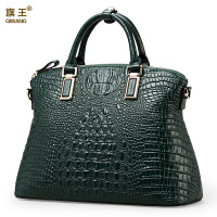 Qiwang Hot Selling Fashion Ladies100 Geniune Leather Green Crocodile Tote Women Bag Gold Hardware Women Tote