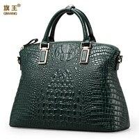 Qiwang Hot Selling Fashion Ladies100 Geniune Leather Green Crocodile Tote Women Bag Gold Hardware Women Tote