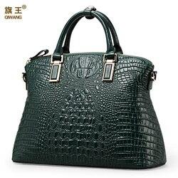 Qiwang authentic women crocodile bag 100% genuíno couro bolsa de venda quente tote bolsa feminina grande marca sacos de luxo
