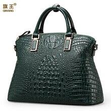 Qiwang otantik kadın timsah çanta 100% hakiki deri kadın çanta sıcak satış Tote kadın çantası büyük marka çanta lüks