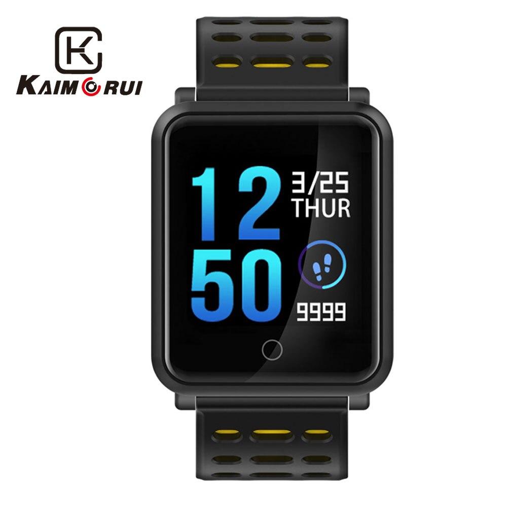 Kaimorui Smart Bracelet Hommes IP68 Étanche Couleur Écran Smart Bracelet Coeur Taux Tracker Modifiable Bande Bluetooth Smartband
