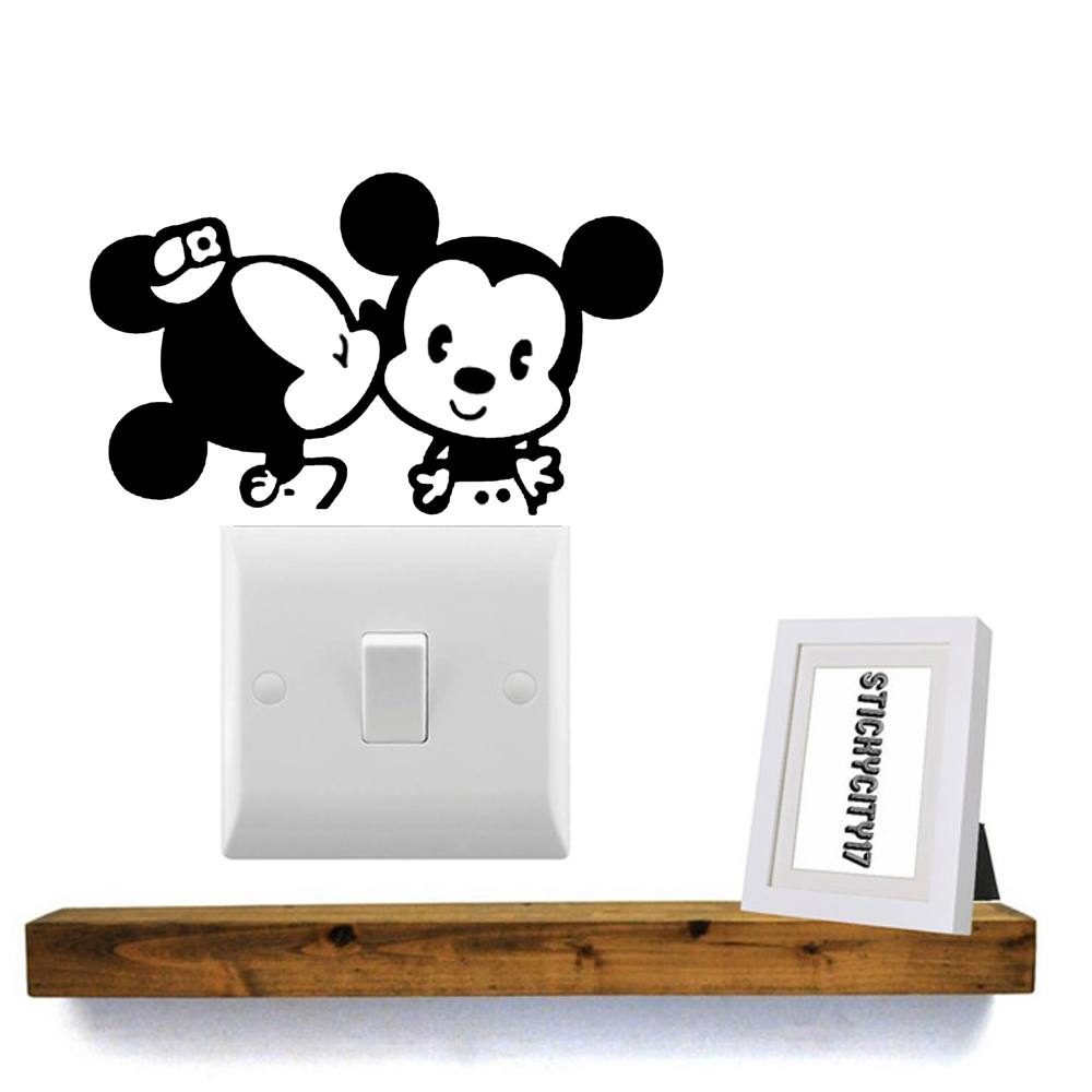 1 PC Mickey and Minnie mouse light switch stickers DIY PVC Wall Stickers home decor wallpaper Jiangs Yu in Wall Stickers from Home Garden