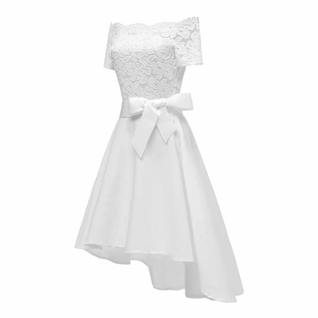 משלוח יען נשים פורמליות לבן ארוך תחרה שיפון שמלת ילדה מסיבת נשים שמלת ערב גברת אופנה מוצק weddingdress
