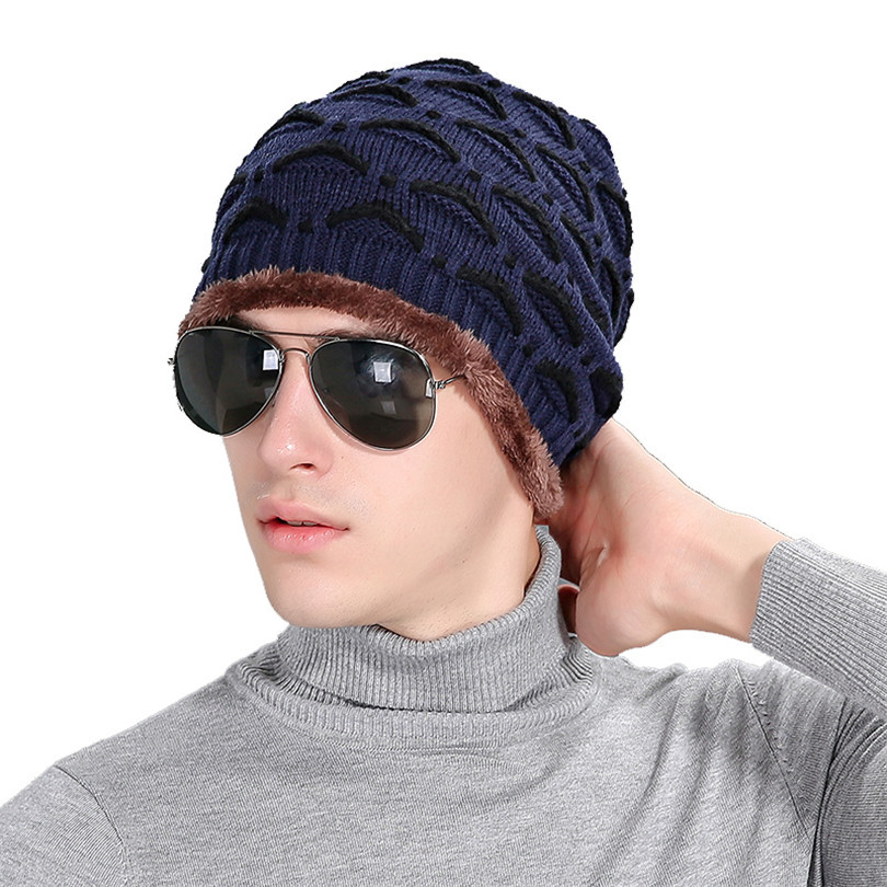 New Winter Plus Velvet Men Hat Eyelid Autumn Knitting Pattern Beanies Label Windproof Knitted Wool Cap Warm Male Skullies M073 new winter male and female cartoon glasses color embroidery knitting wool hat warm hat hedging hat skullies m144