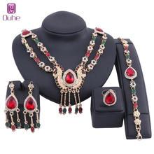 Модный комплект ювелирных изделий из циркона золотистого цвета