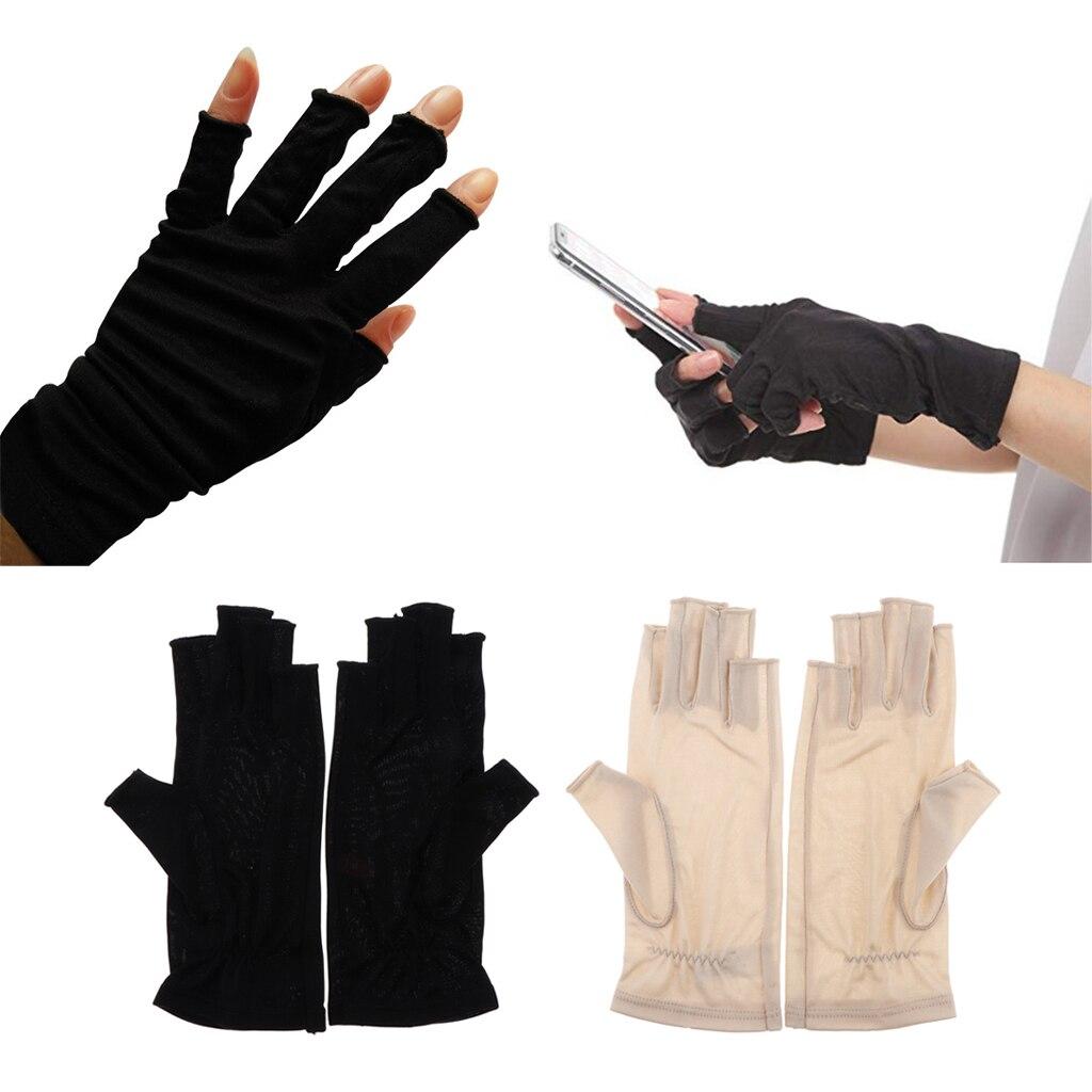 1 Pair Silk Retro Black Beige Womens Stretchy Half Finger Gloves, Soft thin lightweight UV Sun Protect Fingerless Short Gloves