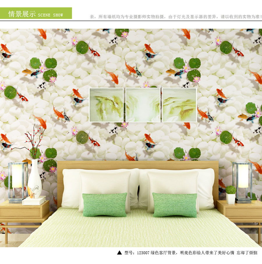 10m Classical Goldfish Swim Pool Pebble Stone Non Woven Mural Rolls for Room Wallpaper for Livingroom Wall 3 d Paper Background luxury classical soft roll background 3d wall paper room mural rolls wallpaper for wall 3 d hotel livingroom bedroom decor