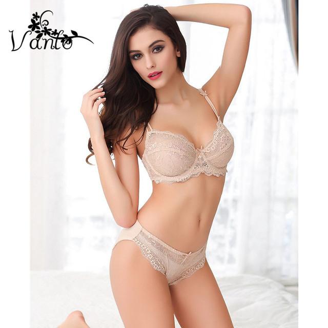 2016 Nova Vanlo Mulheres Marca Top Quality V Profundo Sexy Roupas Íntimas de renda Transparente Oco Mulheres Bra Set Push Up Bordado Lingerie