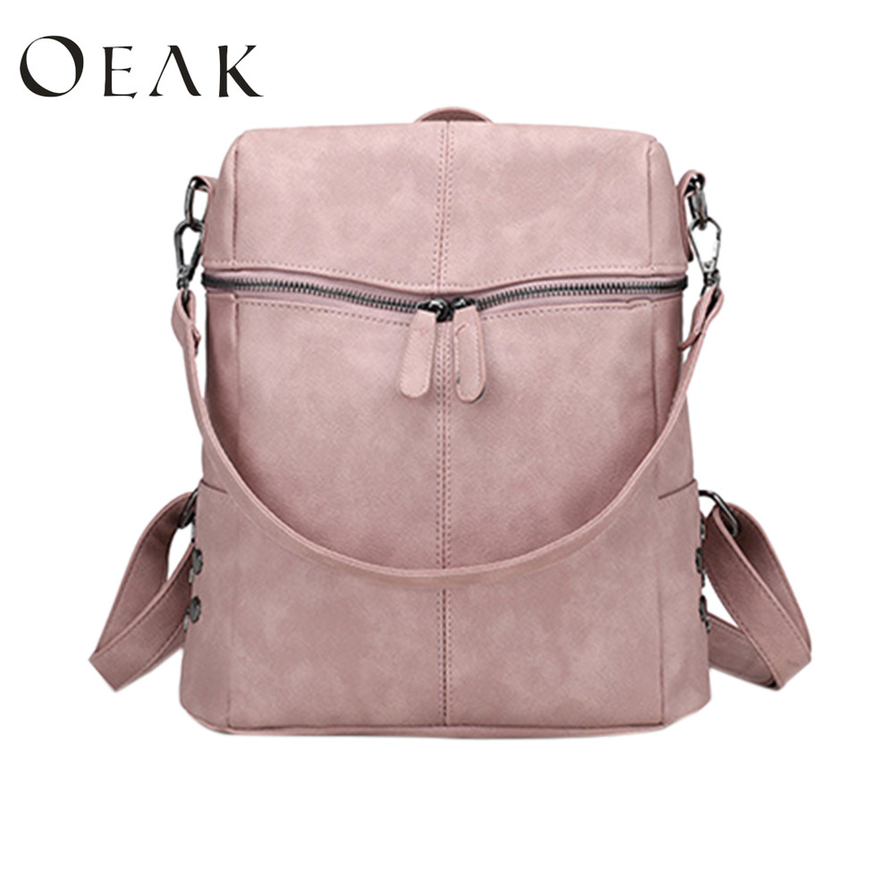 Oeak 2018 new PU soft leather female shopping bags ladies backpacks Fashion Solid School Bags For Teenager GirlsOeak 2018 new PU soft leather female shopping bags ladies backpacks Fashion Solid School Bags For Teenager Girls