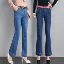 2019 Fashion Slim High Waist Jeans Femme Beading Push Up Women Jeans Mujer Plus Size Casual Flare Pants недорго, оригинальная цена