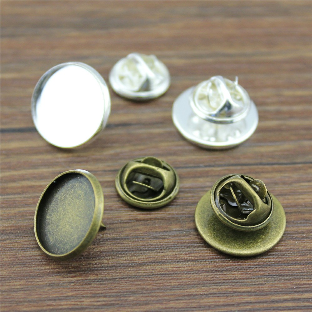 20sets Brooch Pin Base Brooch Pin 2 Colors Fit 12mm~20mm Cabochons Round Cabochon Pin Setting Brooches Jewelry Finding цена