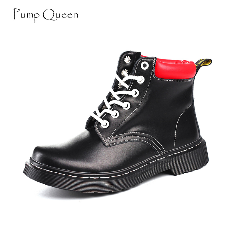 Red Martin Boots Women Shoes Boyfriend Style 2018 Spring New Round Toe Female Boots Patent Leather Lace Up Cool Mujer twisee new lace up ankle boots zapatos mujer women genuine leather boots vintage style flat booties round toe women s shoes