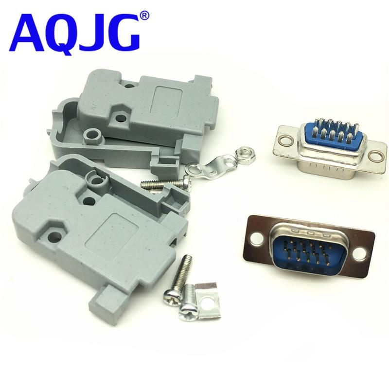10pcs DB9 DB15 VGA Serial Plug Assembly Shell Cover Plastic