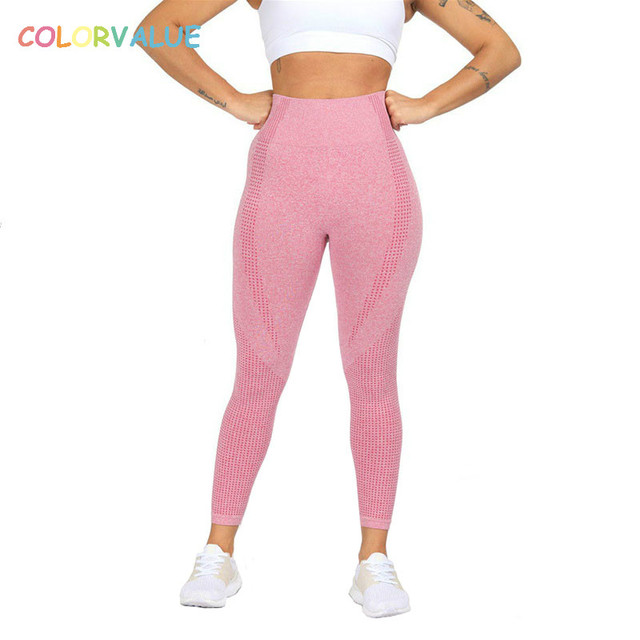 $  Colorvalue Seamless High Waist Athletic Gym Sport Leggings Women Tummy Control Workout Fitness Tights Flexible Nylon Yoga Pants