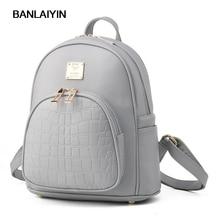 Новые простые Стиль женщины маленький рюкзак черные кожаные женские школьная сумка женская сумка дорожная сумка