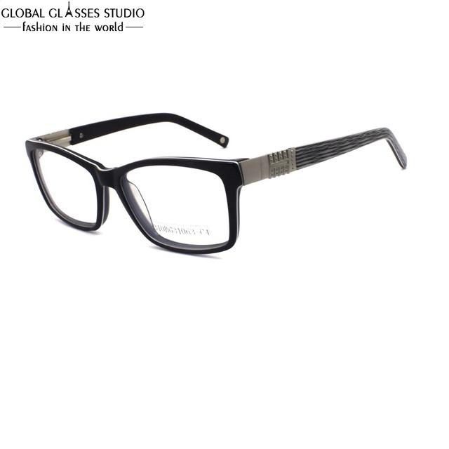 Homens grande Praça Óculos de Armação de Acetato de Aro Preto Óculos Cor Armadura De Metal Chifre Tarja Preta Templo Frame Ótico 310BG31063-C4