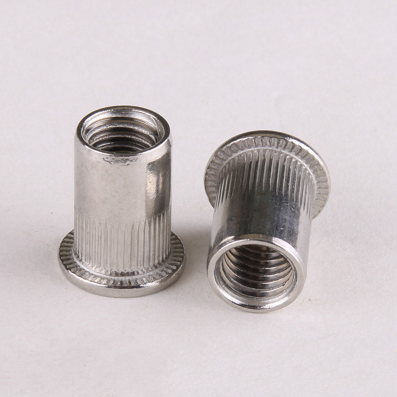 304 Stainless Steel Cylindrical Vertical Grain Flat Head Rivet Nut M3/4/5/6/8/10/12 GB17880 ...