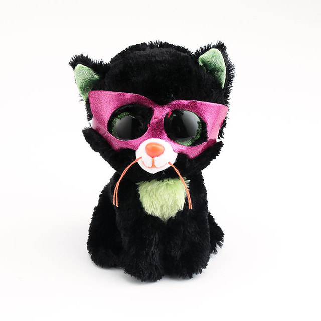 3993d6e1a86 Ty Beanie Boos Big Eyes Stuffed   Plush Animals 10 - 15cm Black Cat With  Mask Toys Dolls