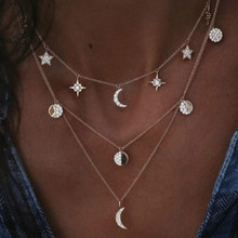цена на Star Pendant Necklace for Women Multilayer Statement Necklace Charm Chain Necklace Collier bijoux Party Jewelry