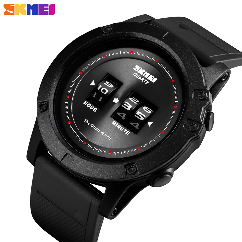 SKMEI New Arrival Outdoor Mens Watches Brand Luxury Quartz Wristwatches Big Dial PU Strap Waterproof Male Clock Montre Homme