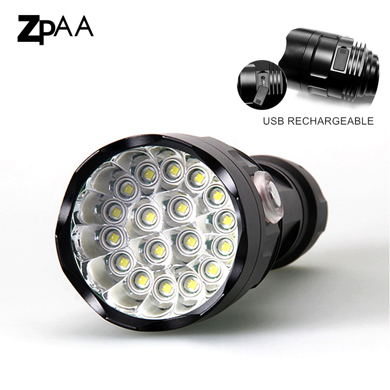 26650 18T6 LED Flash Light Torch18 * XM-L T6 LED Flashlight Lamp Light For Hunting Camp Use Rechargeable 18650/26650 Battery