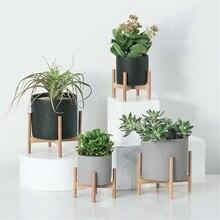 Decorative Geometric Wood Rack Holder Desktop with Cement Planter Garden Succulents Concrete Flower Pot with Plants Stand Wood