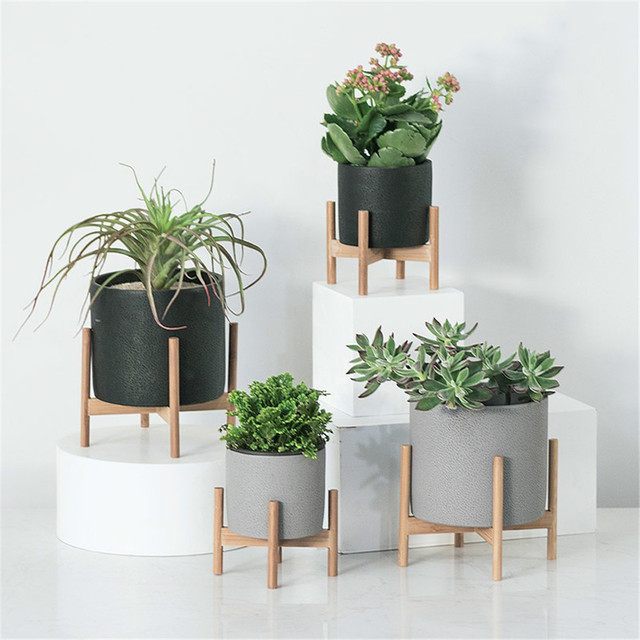 Decorative Geometric Wood Rack Holder Desktop With Cement Planter Garden Succulents Concrete Flower Pot Plants