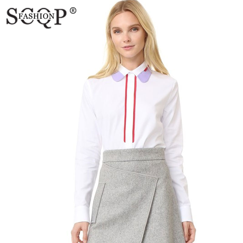 SCQP FASHION Red Striped Office Womens Blouse Cotton ...