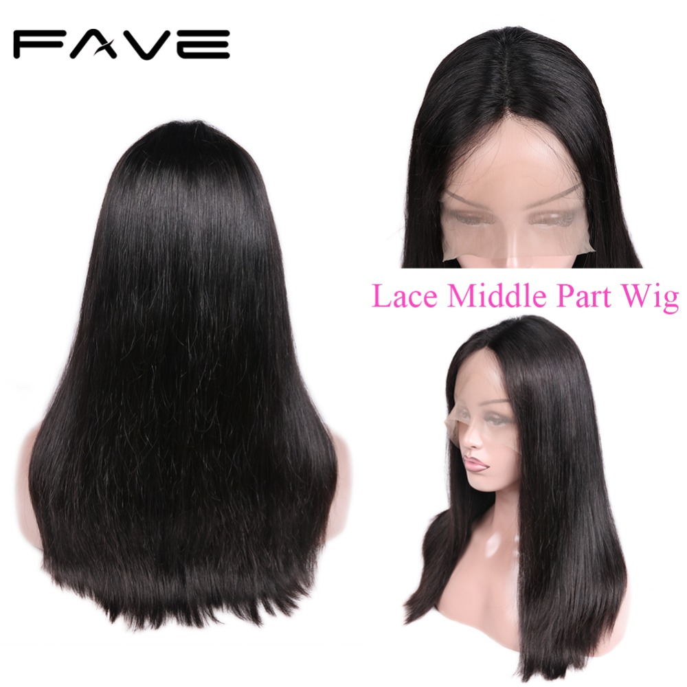 Lace Front Human Hair Wigs Brazilian Middle Part Straight Hair Wig Half Hand Tied 12-18 Inches Free Shipping FAVE Hair