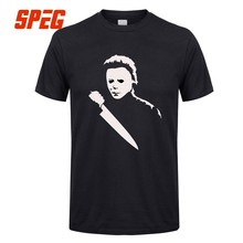 14438821a T-Shirt Solid Scary Movie Horror Halloween Michael Myers Mask And Drips T  Shirt Men's