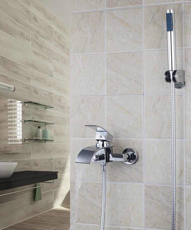 ouboni modern luxury tub shower faucet set 8256s wall mounted waterfall shower mixer tap with handheld