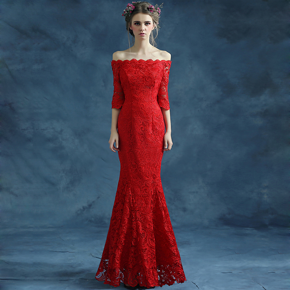 New style sexy red lace boat neck off shoulder half for Red wedding dresses with sleeves