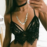 WEIXINBUY 2017 Summer Sexy Women Boho Underwear Sheer Lace Crohet Bralette Bras Crop Bustier Cami Tank Tops Black White