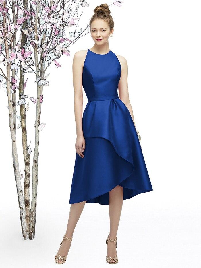 Personnaliser longue robe de soirée col rond salut bas sans manches robes en Satin 24 couleurs