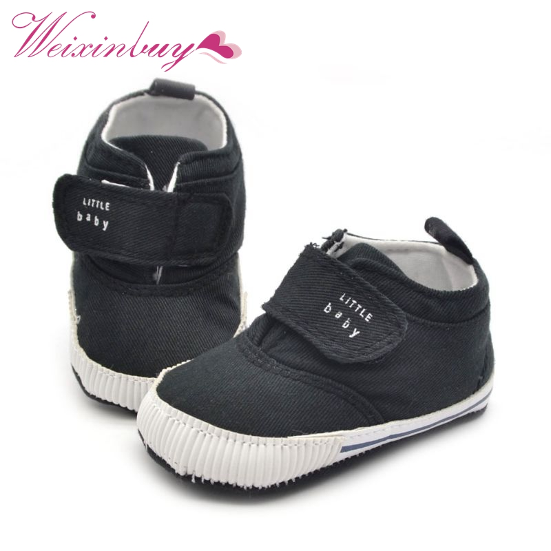 Newborn Baby Boys Cotton Ankle Canvas High Crib Shoes Casual Sneaker Toddler First Walkers New Arrival