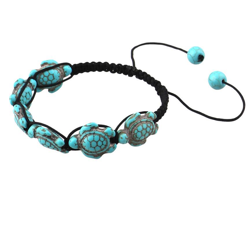 1pc Boho Vintage Turquoises Tortoise Bracelets for Women Men Turtle Charm Braided Bracelet Adjustable bead bracelet jewelry in Strand Bracelets from Jewelry Accessories