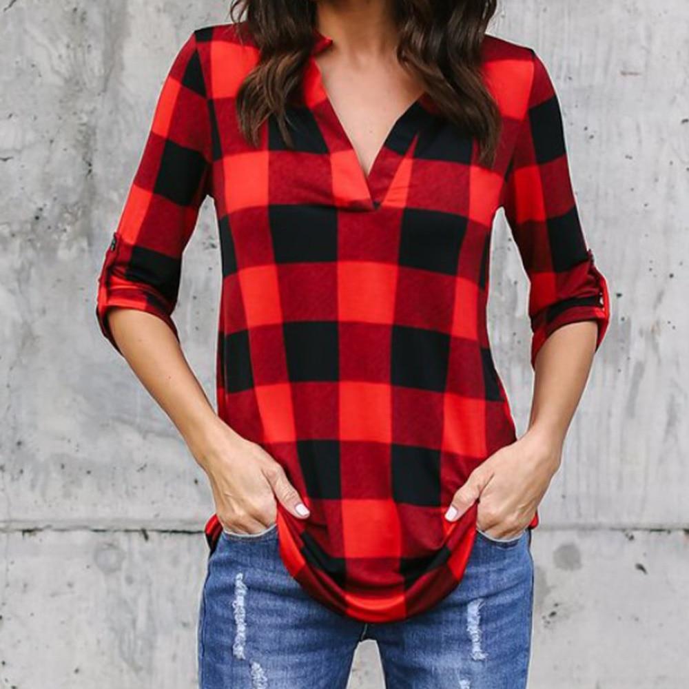 Blusas Mujer De Moda 2018 Womens Tops And Blouses Summer Plaid Chiffon Blouse SexyV-neck Women Shirts Summer Top Roupas Feminina