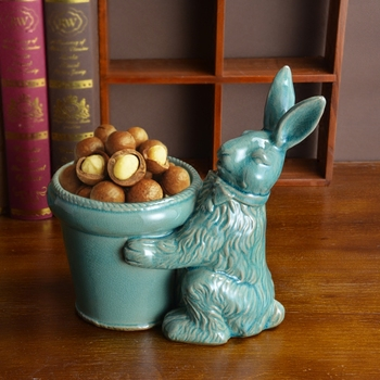 vintage ceramic rabbit flower vase home decor crafts room decoration porcelain animal figurines rabbit flower pot keys Storage