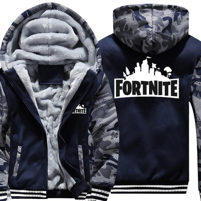 US/EU SIZE Super Warm Fortnite Hoodies Sweatshirts for Men Winter Thick Fleece Men's Jackets Casual Zip up Hoody Adult Coats Top