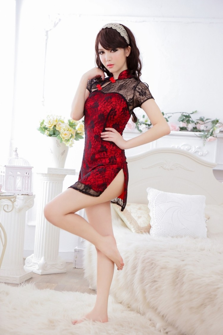 sexy lingerie red bowknet lace cheongsame charm dress g string set