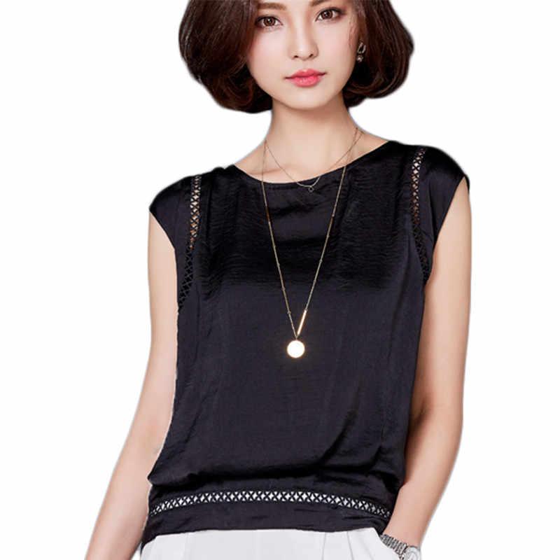Wanita Musim Panas Blus Kemeja Baru Fashion Blusas Sifon Seksi Hitam Panas Atasan dan Blus Tanpa Lengan Kasual untuk Wanita Camisa Baru