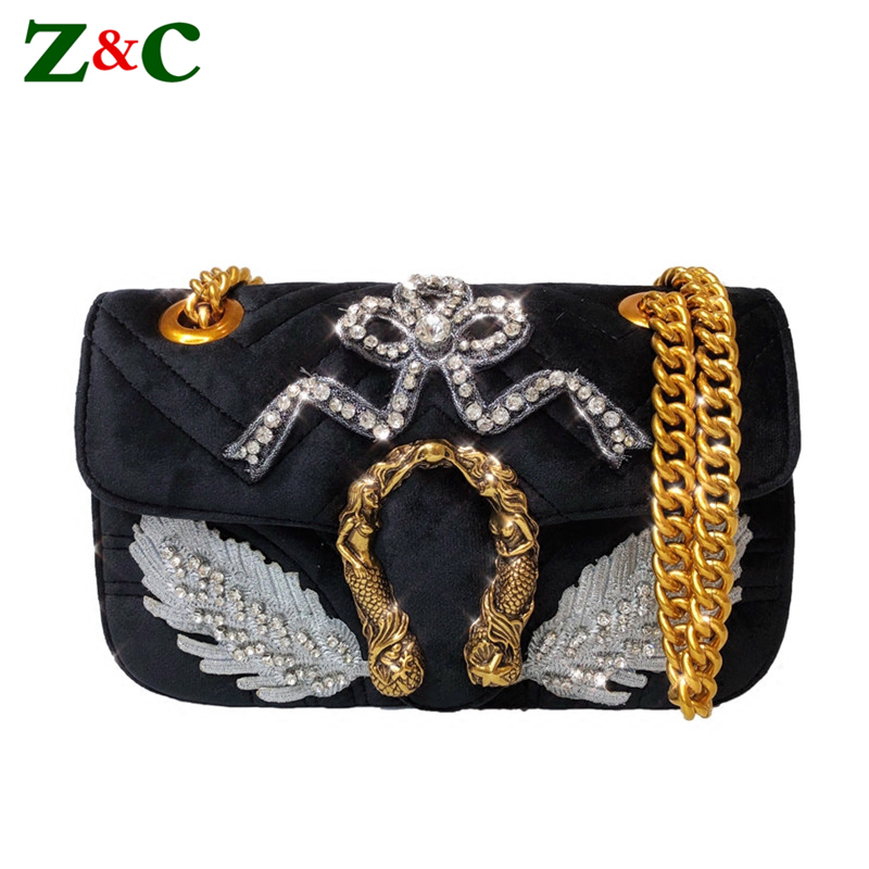 2018 New Fashion Lady Gold Chain Velvet Shoulder Bags Luxury Diamond Women Messenger Bag Rhinestone Designer Handbags Sac A Main trenadorab velour shoulder bag women bag luxury handbags designer brand ladies chain velvet crossbody messenger bags sac a main