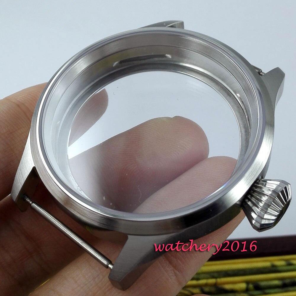 Boîte en acier inoxydable en verre saphir 43mm pour montre de mouvement eta 6497 6498 ST 3600