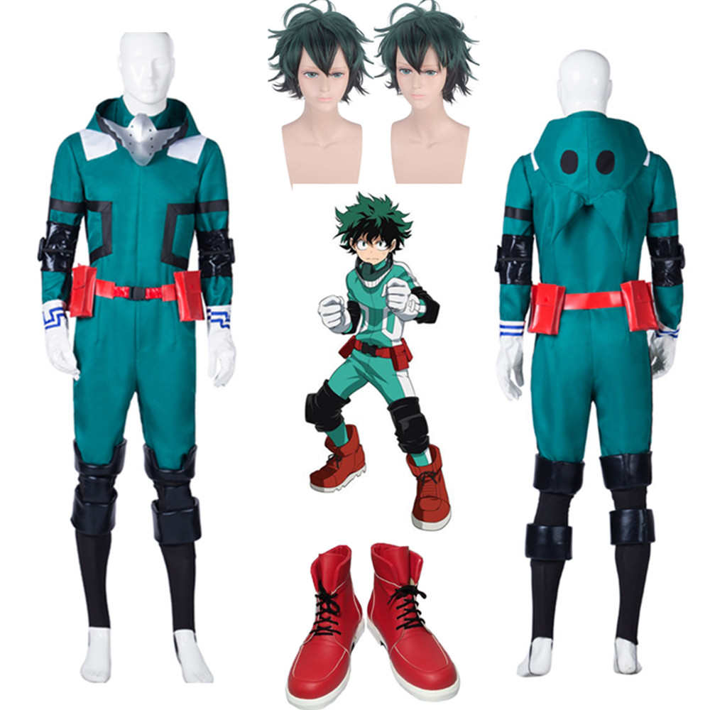 My Hero Academia Boku No Hero Akademia Izuku Midoriya Jumpsuits Cosplay Costume Hair Izuku Midoriya Deku Wigs Cartoon Shoes