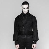 Steampunk Men's Black Waist Coat V neck Metal Button Vintage Male's Fashion Shirts Accessory